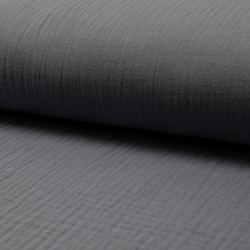 Tkanina bawełniana - muślin - ciemny szary