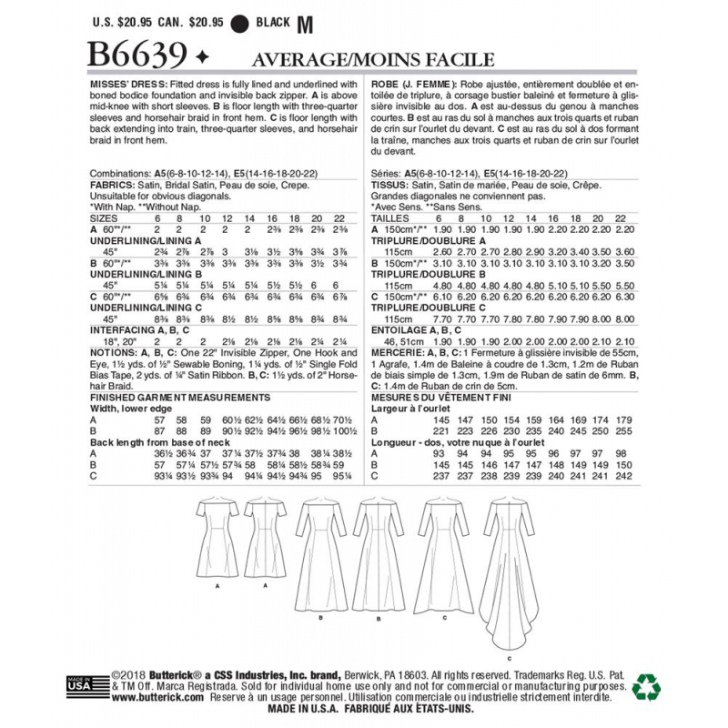 Wykrój Butterick B6639