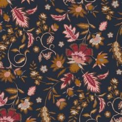 Jersey, wiskoza granatowa w kwiaty