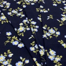 Tkanina wiskozowa chally - kwiaty na granacie