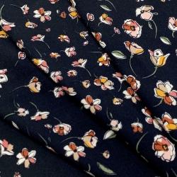 Tkanina wiskozowa chally - różowe kwiaty na granacie