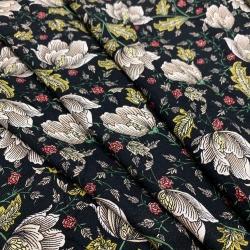 Tkanina wiskozowa twill - kwiaty na czarnym
