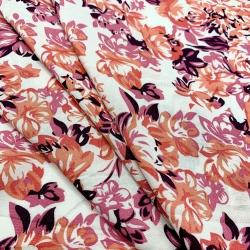 Tkanina wiskozowa chally - kwiaty koral na ecru