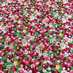 Tkanina wiskozowa chally - czerwona łączka
