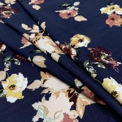 Tkanina wiskozowa chally - duże kwiaty na granacie
