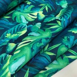 Tkanina wodoodporna tropikalne liście na granacie