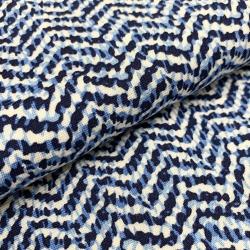 Tkanina wiskozowa chally - niebieskie fale