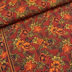 Tkanina w kwiaty pomarańczowwe