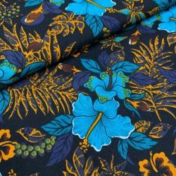 Tkanina w kwiaty turkusowe