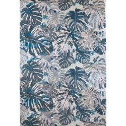 Welur tapicerski monstera szaro-błękitna