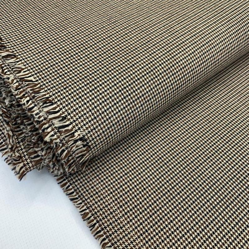 Tkanina bawełniana z elastanem brązowa drobna pepitka