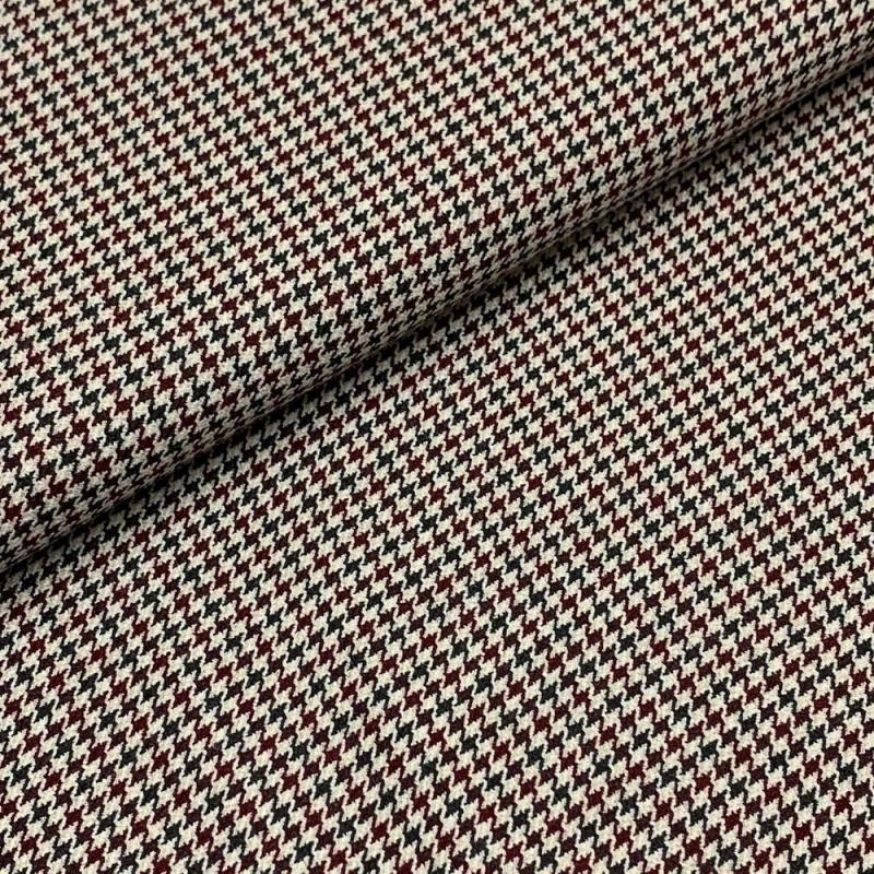 Tkanina wiskozowa elastyczna pepitka bordo