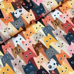 Tkanina wodoodporna kolorowe koty
