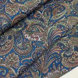 Tkanina wodoodporna paisley niebieski