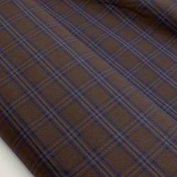 Tkanina, flanela bawełniana w kratę brąz - granat