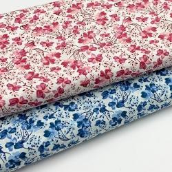 Tkanina bawełniana drobny wzór - kwiaty niebieskie