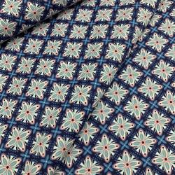 Tkanina bawełniana granatowo - niebieska