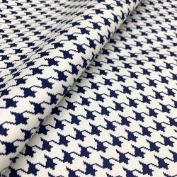 Włoska tkanina bawełniana z elastanem pepitka granatowa
