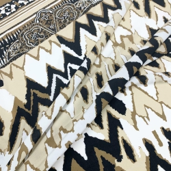Włoska tkanina wiskozowa beżowo - czarna