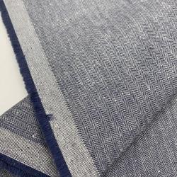 Włoska tkanina bawełniano - lniana granatowa jodełka
