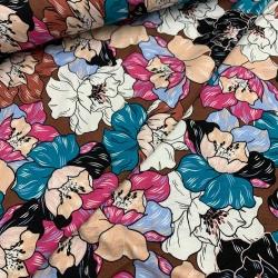 Dziania wiskozowa, jersey - retro kwiaty fuksja