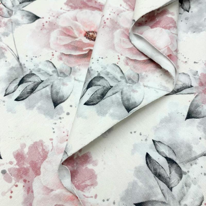 Dzianina, jersey, druk cyfrowy, kwiaty