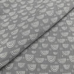 Tkanina bawełniana - muślin - tęcze, szary