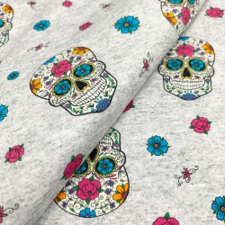 Dzianina pętelkowa czaszki meksykańskie - druk cyfrowy
