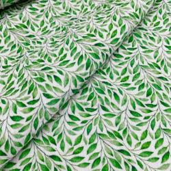 Tkanina bawełniana - muślin - liście
