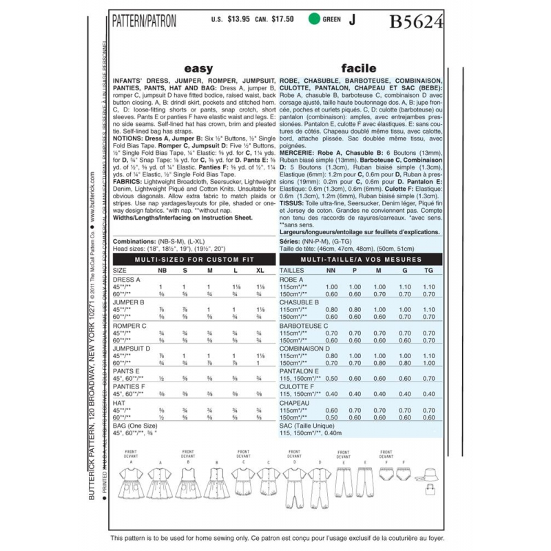 Wykrój Butterick B5624