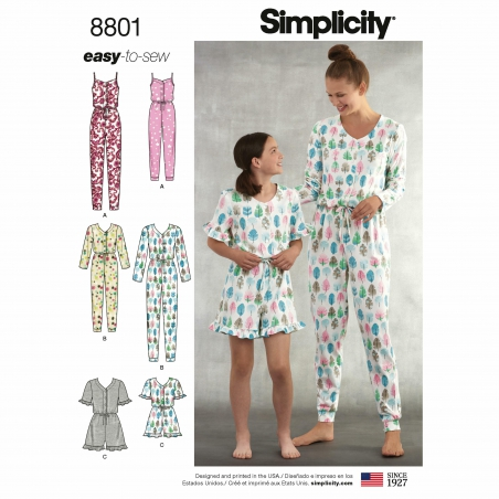 5 simplicity mother daughter pajama rompers pa