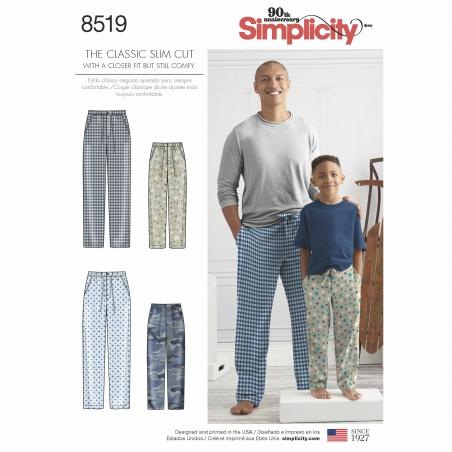 simplicity father son pjs pattern 8519 envelop